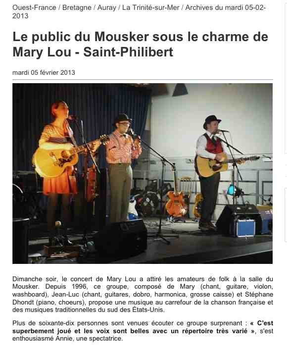 article Ouest France Mary-Lou à St Philibert